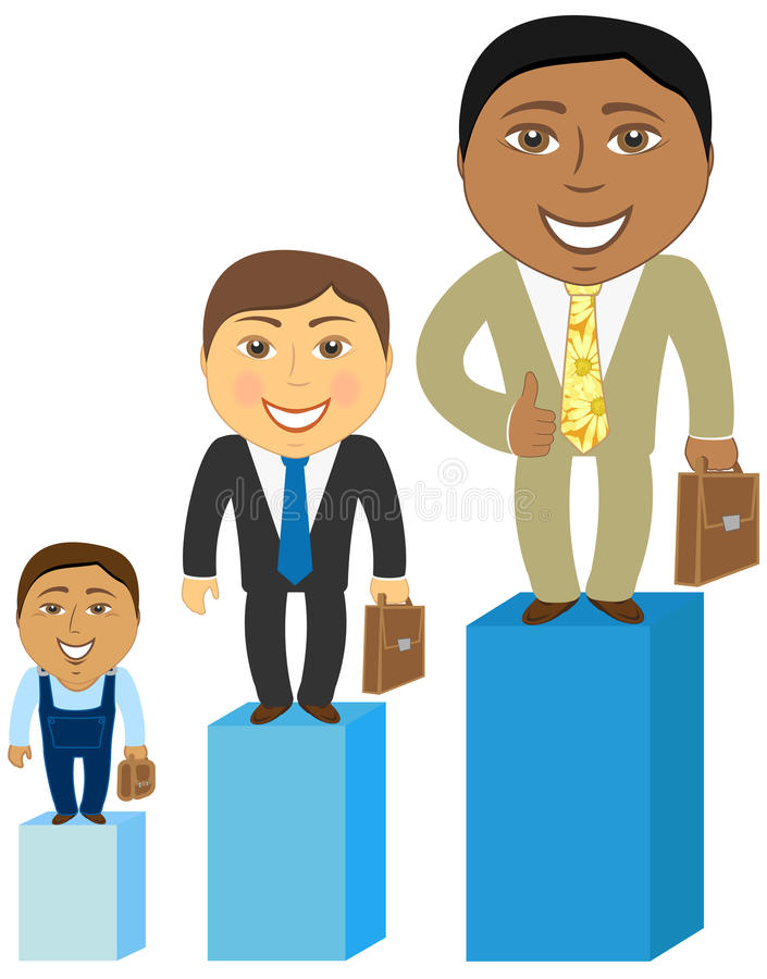 Cartoon asian, caucasian and afro american mens stock illustration