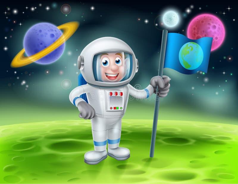 Cartoon Astronaut Alien Moon Scene vector illustration