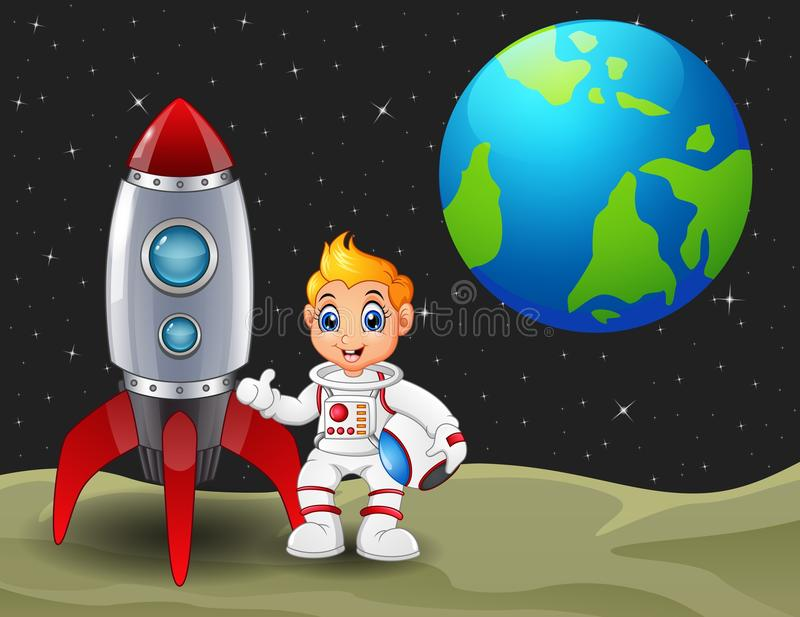 Cartoon astronaut boy holding a helmet and rocket space ship on the moon with planet earth in the background stock illustration