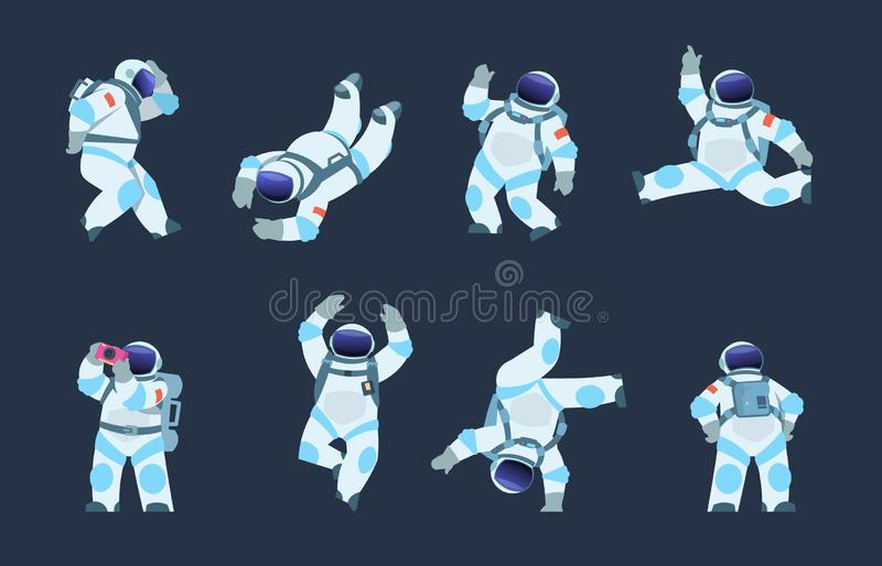 Cartoon astronaut. Dancing party cosmonaut, retro disco spaceman, comic space dancer. Vector astronaut in different stock illustration