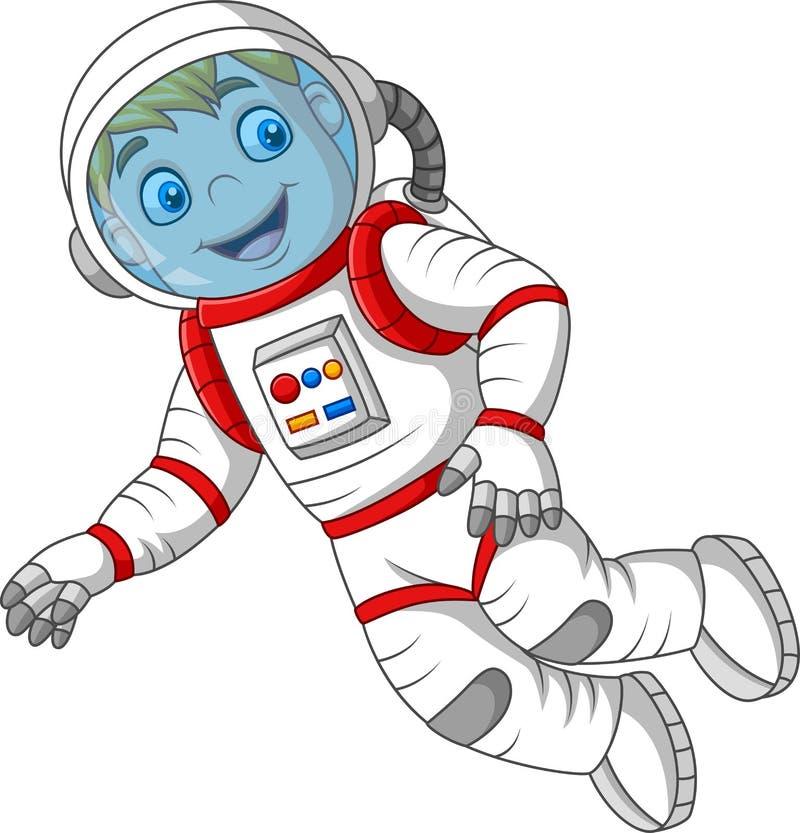 Cartoon astronaut isolated on white background stock illustration