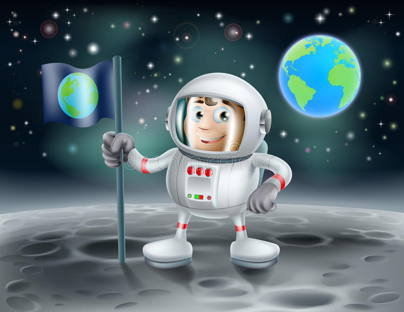 Download Cartoon Astronaut On The Moon Stock Vector - Illustration: 33666755
