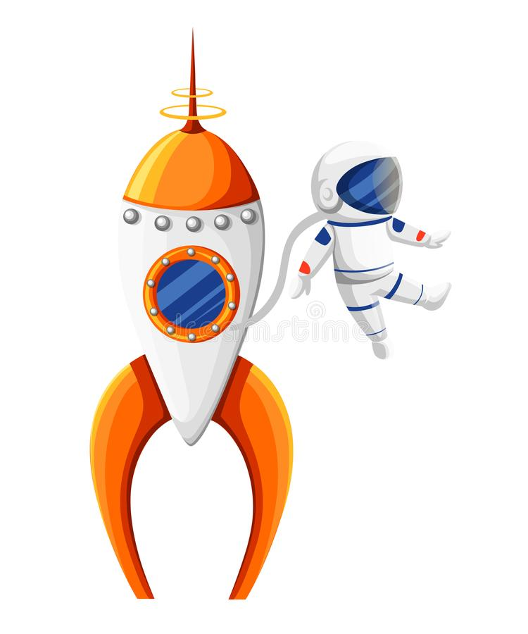 Cartoon astronaut with spacesuit near rocket in zero gravity orange and white spaceship illustration isolated on white back. Ground website page and mobile app vector illustration