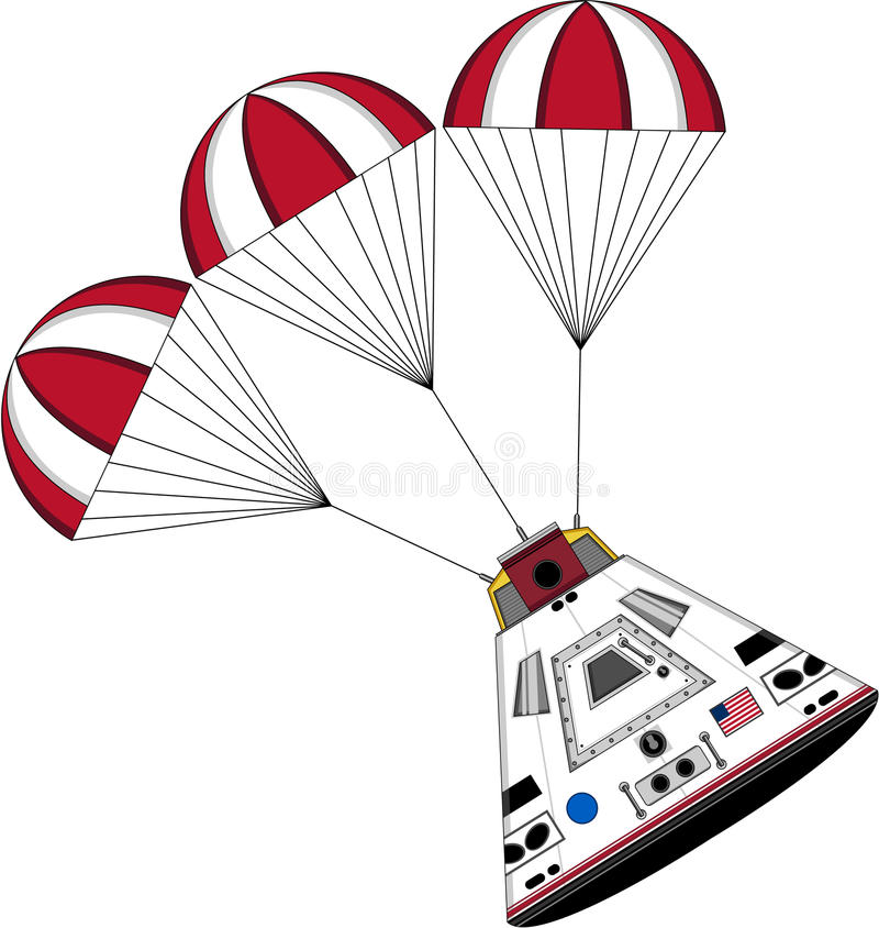 Cartoon Astronauts Space Capsule. Vector Illustration of a Cute Cartoon Astronauts Space Capsule with Parachutes Splashing Down stock illustration