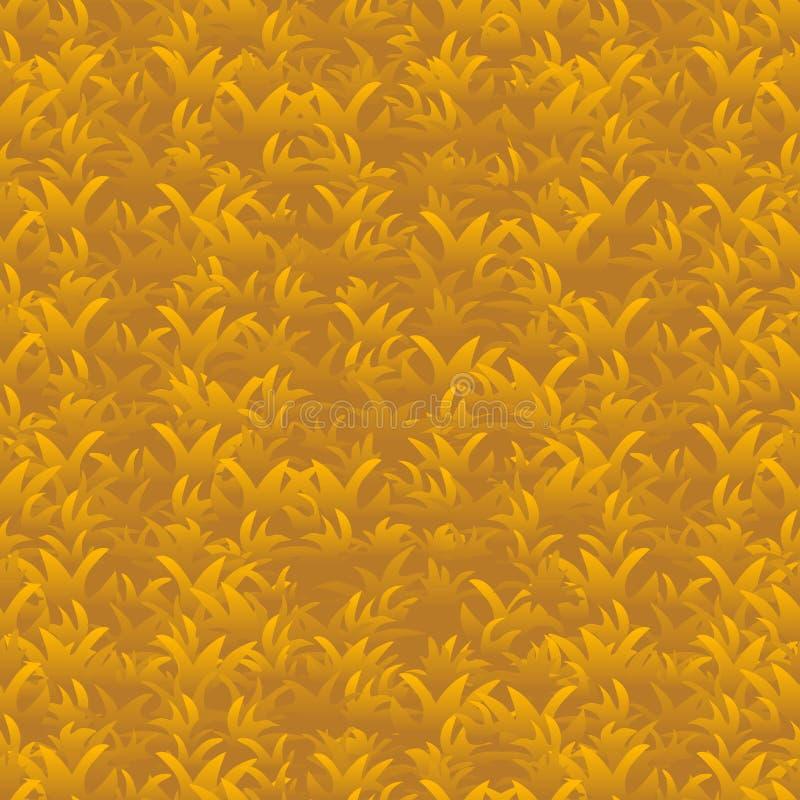 Autumn orange grass seamless pattern, vector background stock illustration