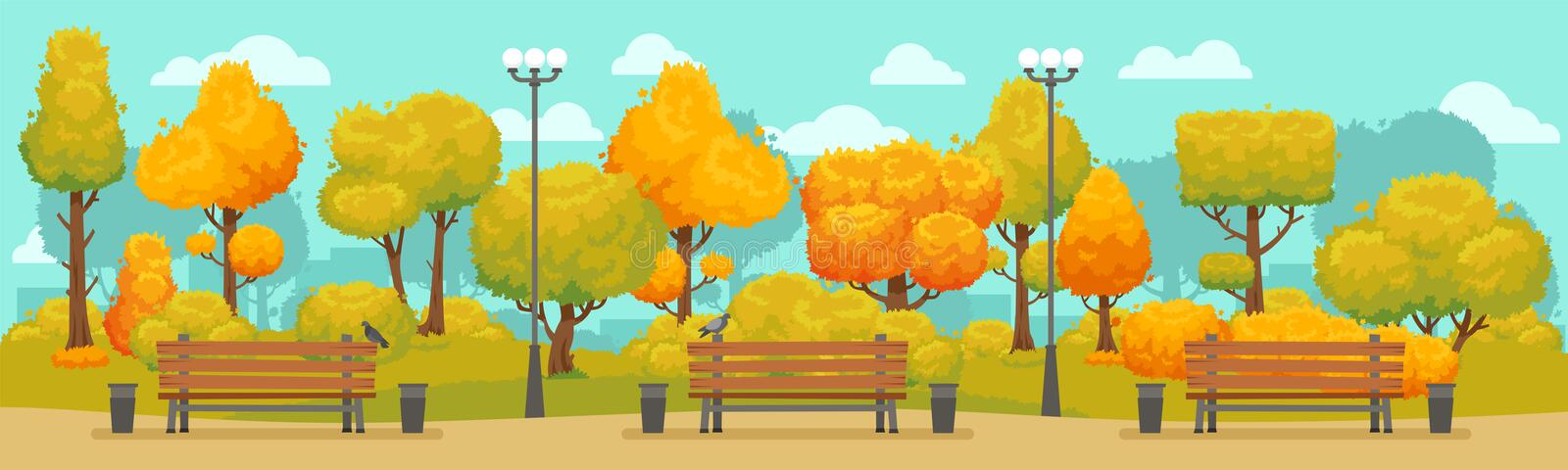Cartoon autumn park panorama. Autumnal city parks road with yellow and red trees. Fall street tree panoramic vector vector illustration