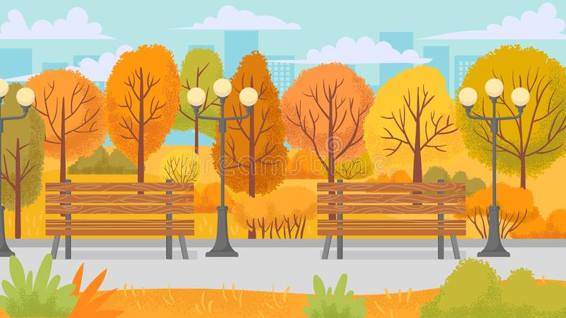 Cartoon autumn park. Yellow trees, city parks environment and nature panorama vector background illustration royalty free illustration