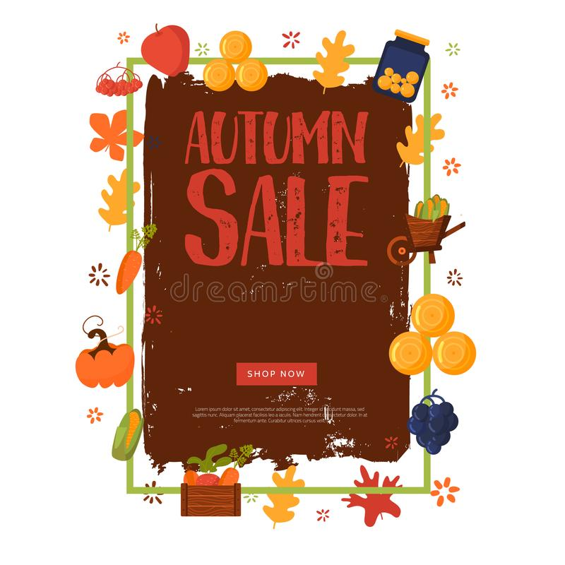 Cartoon autumn sale banner with fall objects and symbols beetroot, corn, carrot. Seasonal promotion.  royalty free illustration