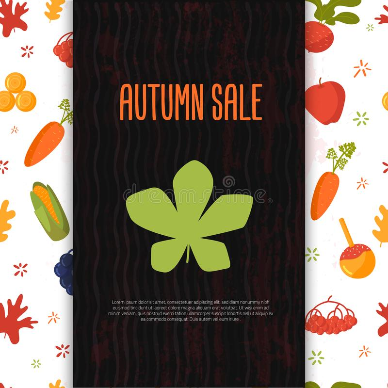 Cartoon autumn sale banner with fall objects and symbols beetroot, corn, carrot. Seasonal promotion.  stock illustration