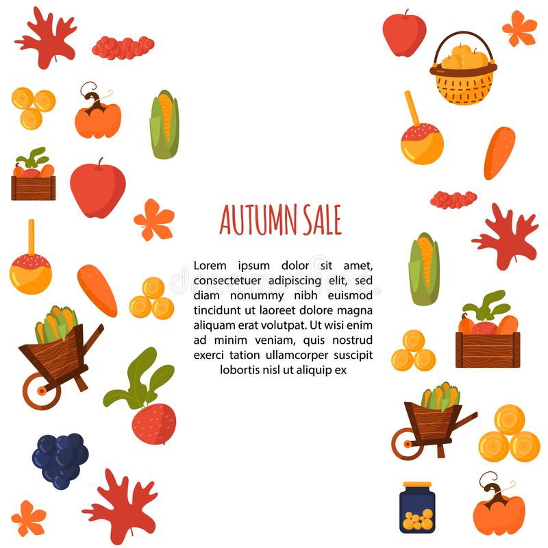 Cartoon autumn sale banner with fall objects and symbols beetroot, corn, carrot. Seasonal promotion.  vector illustration