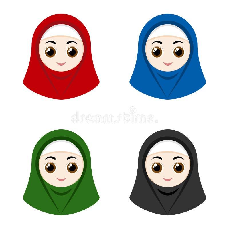 Cartoon avatars of girls with hijab stock illustration