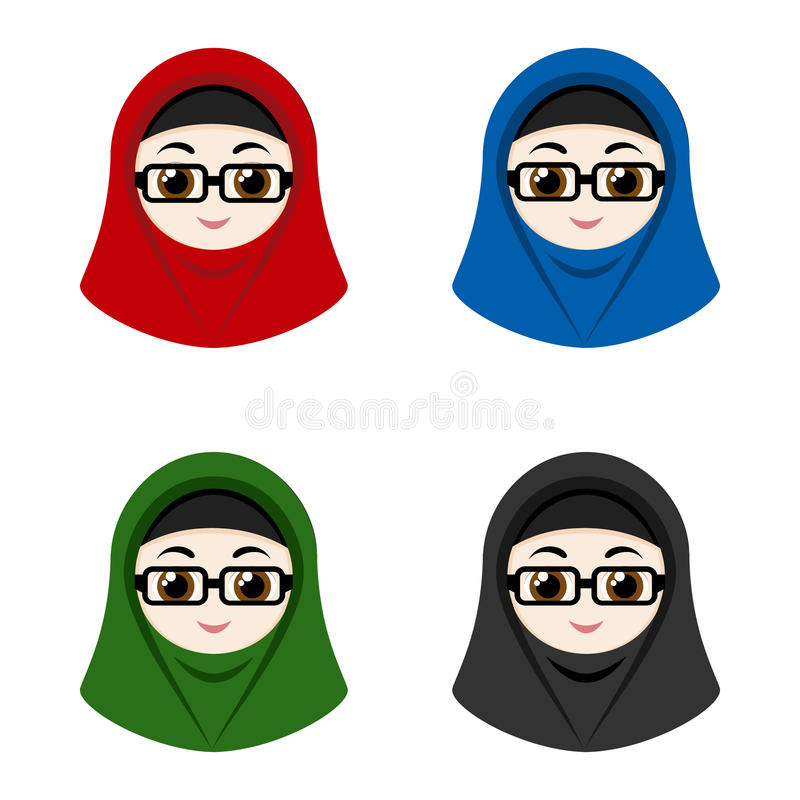 Cartoon avatars of girls with hijab royalty free illustration