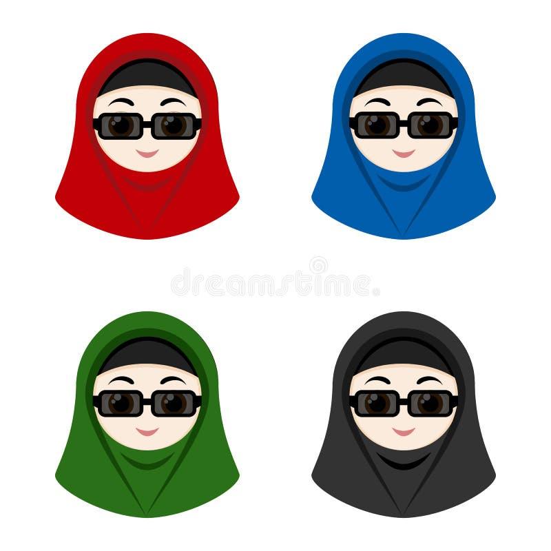 Cartoon avatars of girls with hijab vector illustration