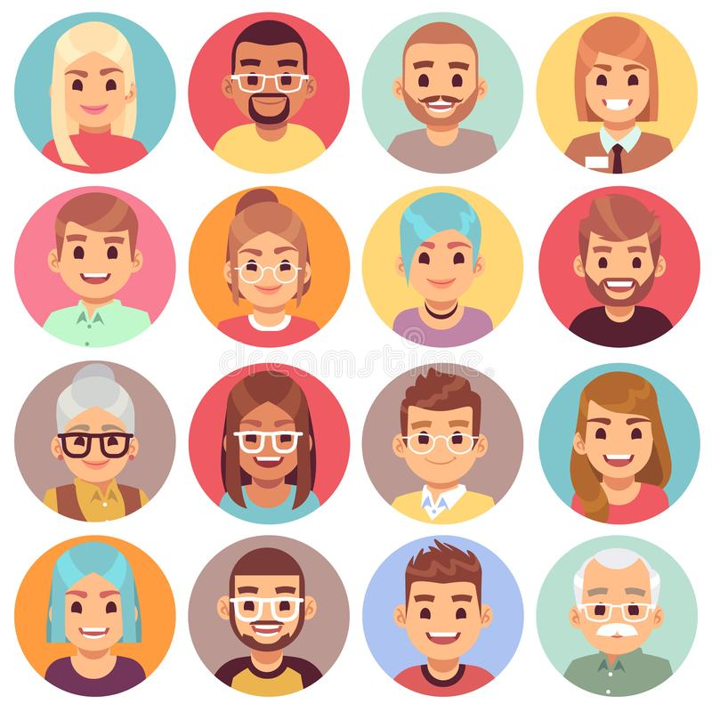 Cartoon avatars. People of different sexes, ages and races. Face avatars of multicultural characters portraits. Human royalty free illustration