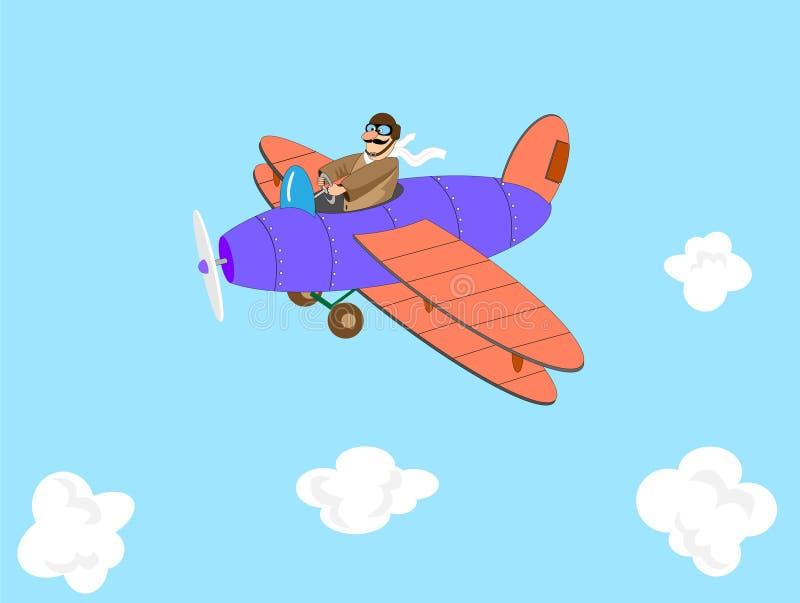 Download Cartoon aviator stock vector. Image of aeroplane, biplane - 20991262