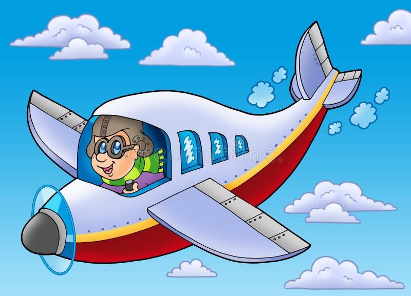 Cartoon aviator on blue sky vector illustration