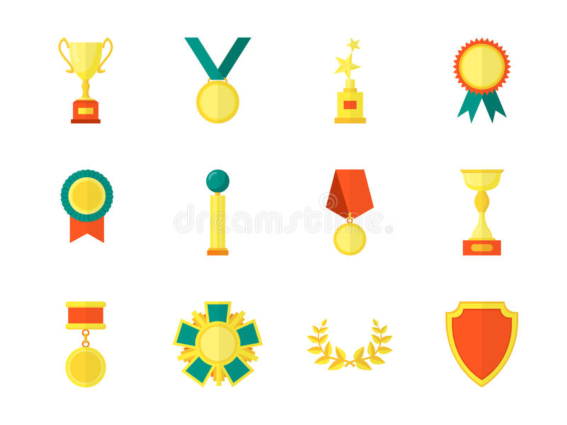 Cartoon Awards Color Icons Set. Vector royalty free illustration