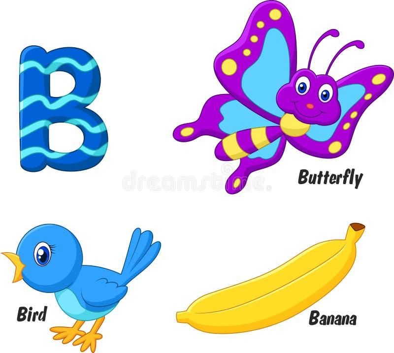 Cartoon B alphabet stock illustration