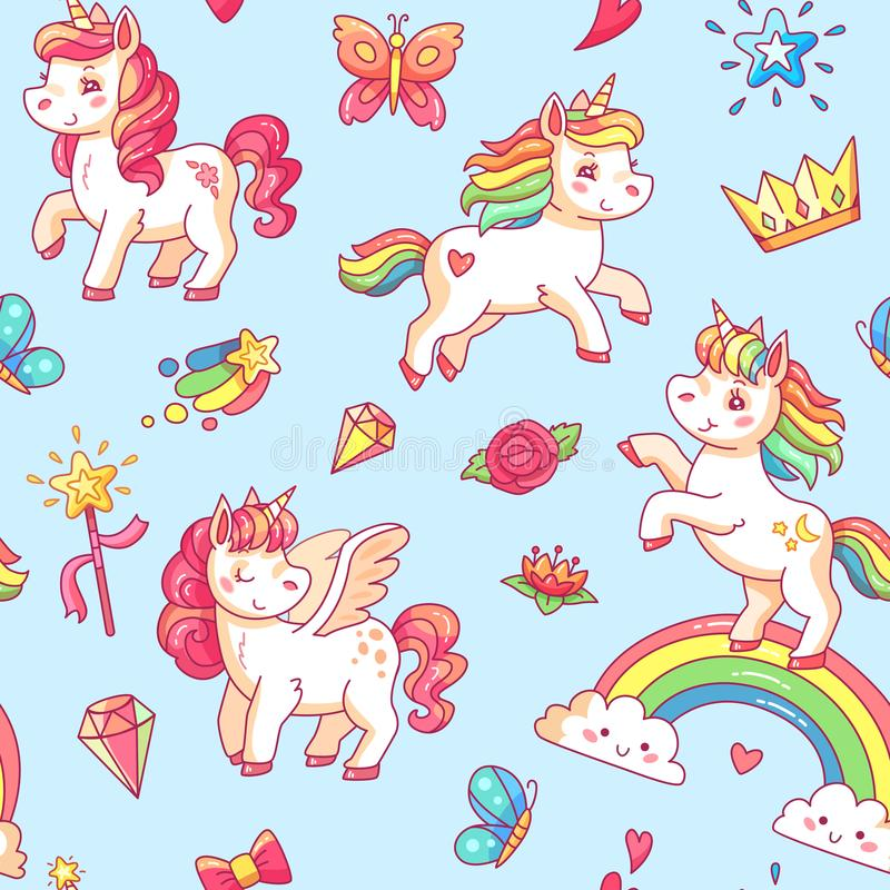 Cartoon babe pony sketch cute background. Miracle sweet dreams with magic unicorn, clouds and rainbow vector seamless stock illustration