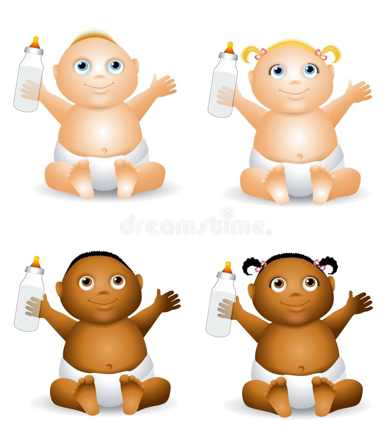 Cartoon Babies With Bottles. An illustration featuring your choice of baby holding a baby bottle - african american and caucasian - boys and girls vector illustration