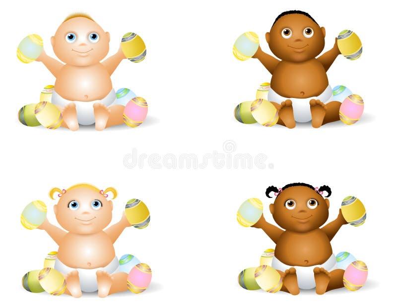 Cartoon Babies With Easter Eggs. An illustration featuring an assortment of cartoon babies holding Easter eggs vector illustration