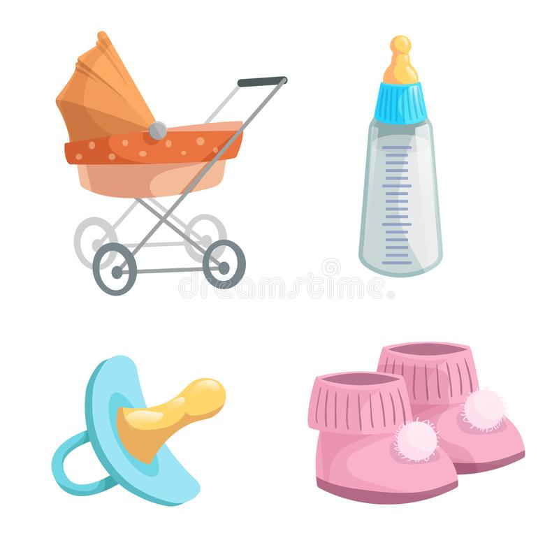 Cartoon baby accessories icons set. Girl pink baby booties, rubber dummy, orange bed pram and feed bottle with milk. stock illustration
