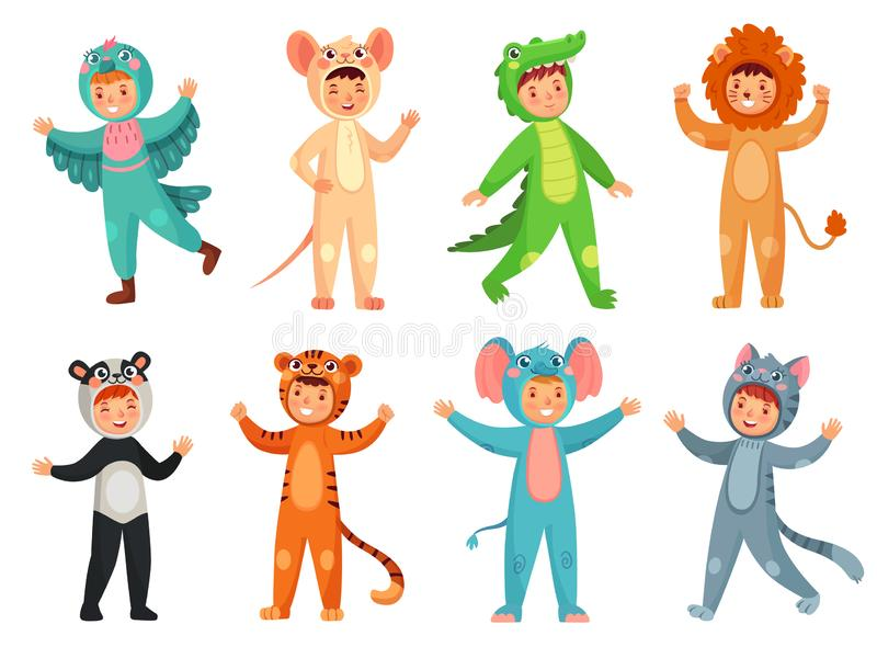 Cartoon baby animal costumes. Cute girl in panda costume, little boy in elephant suit and kids party mascot vector. Cartoon baby animal costumes. Cute girl in vector illustration