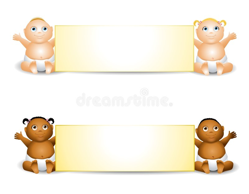 Cartoon Baby Banners. This illustration features pairs of adorable cartoon babies holding banners in caucasian and african american stock illustration