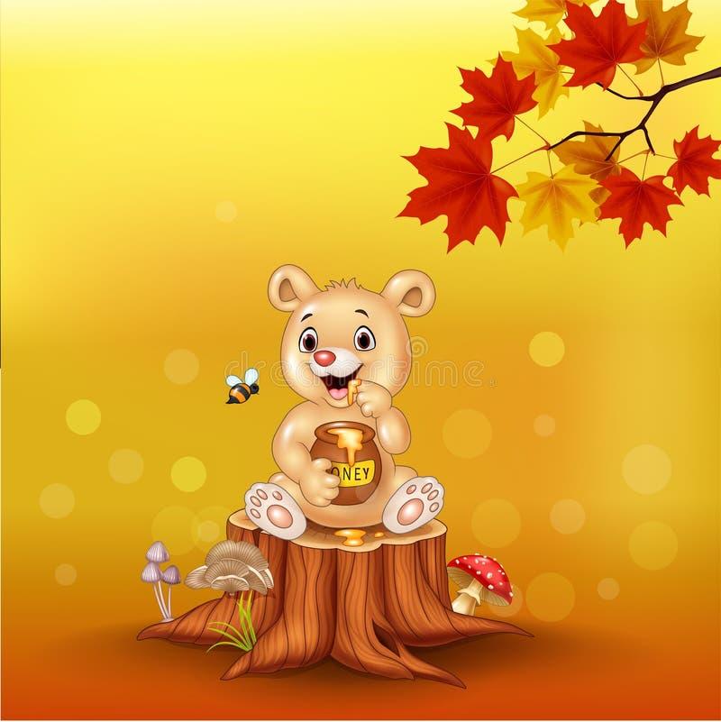 Free Cartoon Baby Bear Holding Honey Pot On Tree Stump Stock Image - 158117961