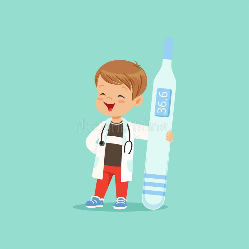 Cartoon baby boy character in white coat and stethoscope around his neck holding big medical thermometer. Child playing. Doctor. Isolated flat vector stock illustration