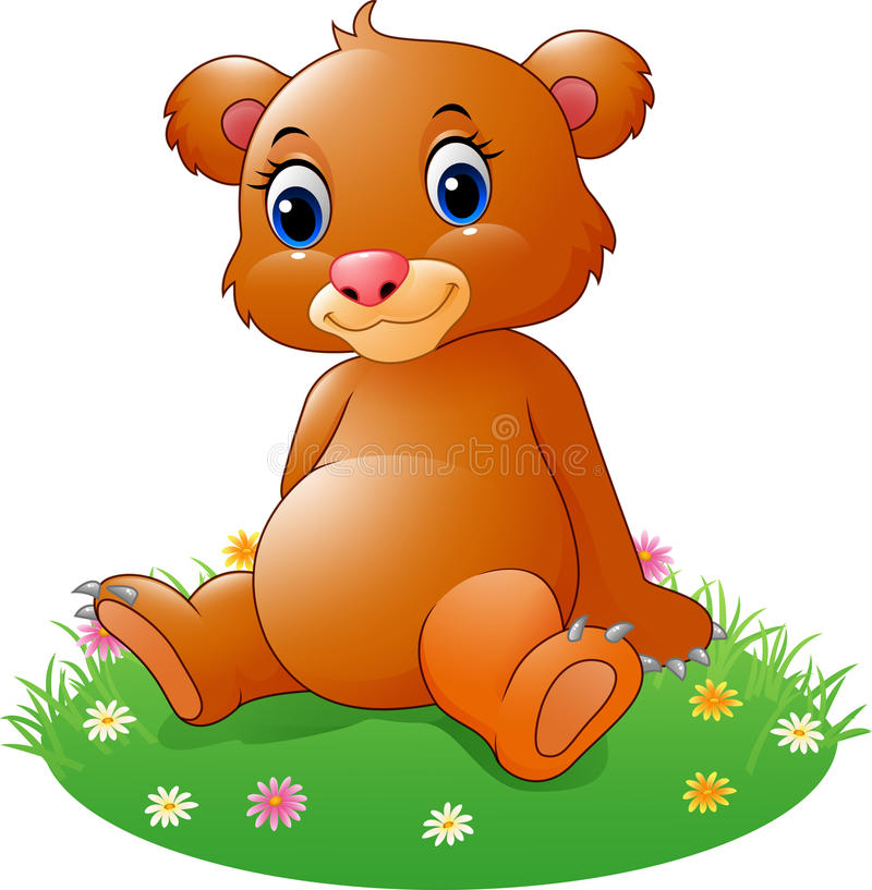 Cartoon baby brown bear sitting stock illustration