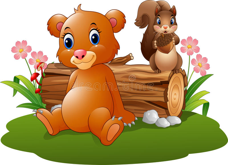 Cartoon baby brown bear with squirrel in the forest vector illustration