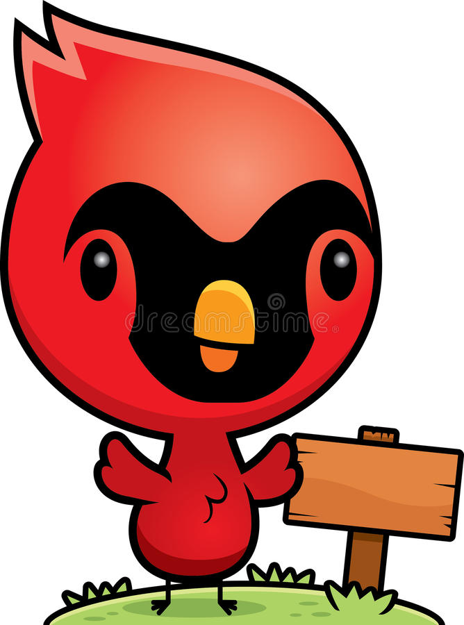 Free Cartoon Baby Cardinal Wood Sign Stock Image - 47398911