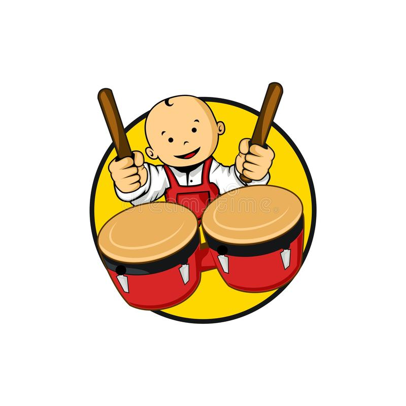 Baby playing drums. Cartoon baby character playing drums design vector eps format vector illustration
