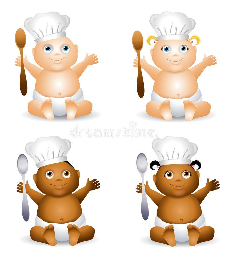 Cartoon Baby Chefs Hats. An illustration featuring your choice of happy smiling baby - african american and caucasian - boys and girls wearing chef hats and vector illustration