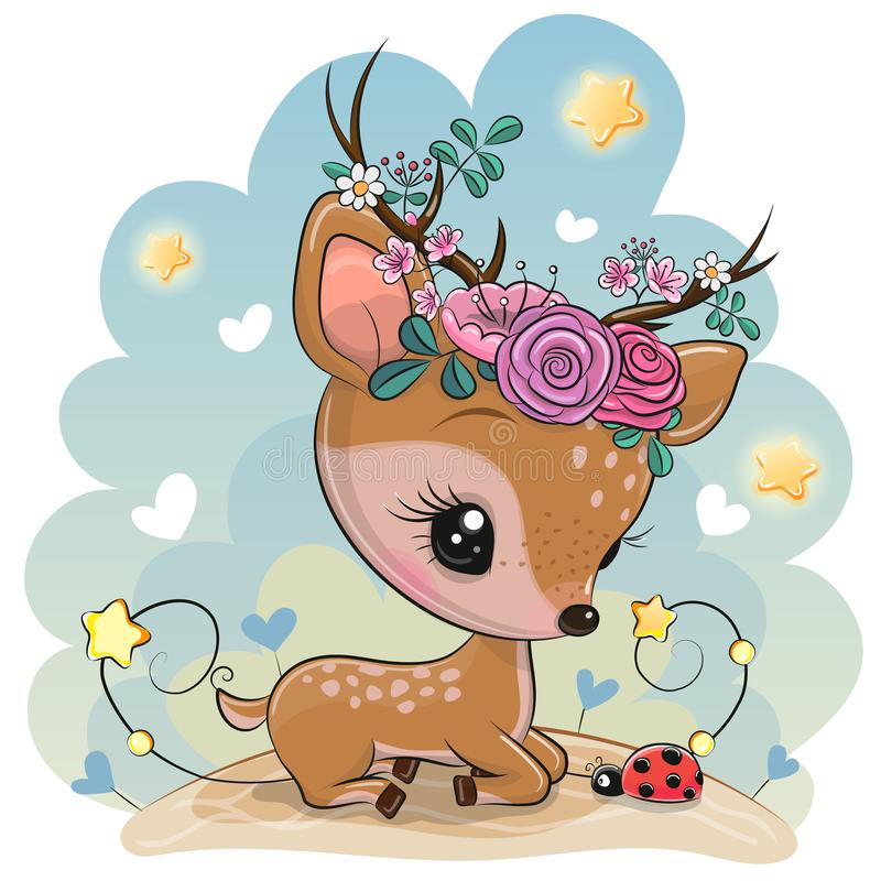 Cartoon Baby deer with flowers on the meadow vector illustration