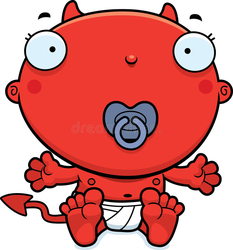 Cartoon Baby Devil Pacifier. A cartoon illustration of a baby devil with a pacifier royalty free illustration