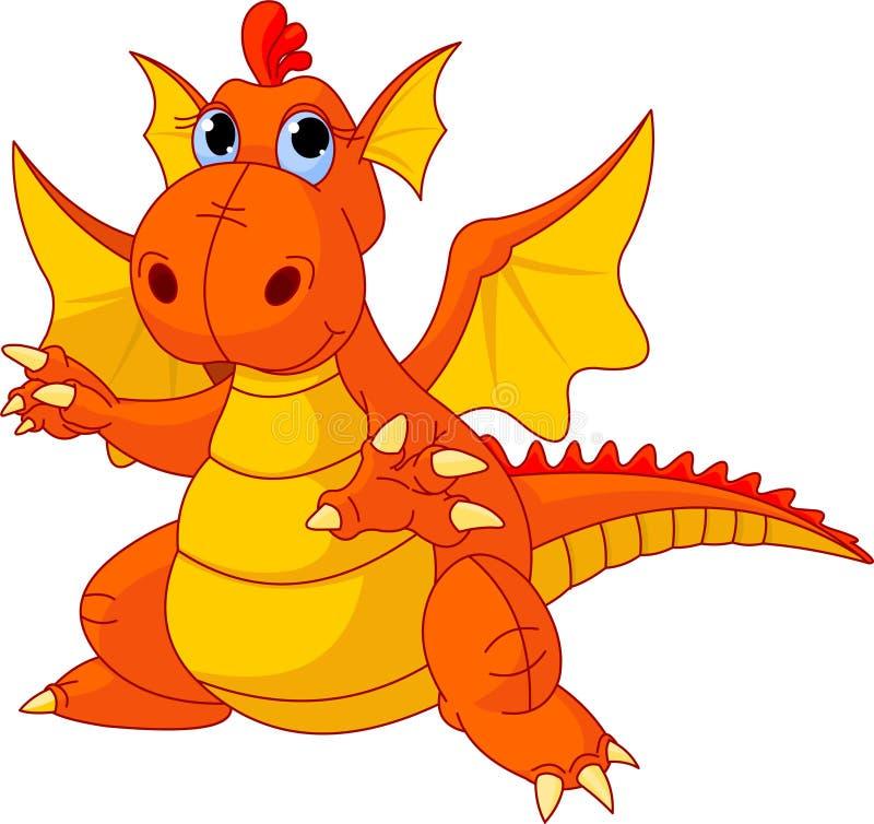 Cartoon baby dragon royalty free illustration