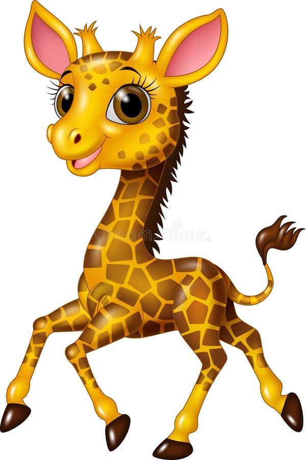 Cartoon baby giraffe running on white background vector illustration