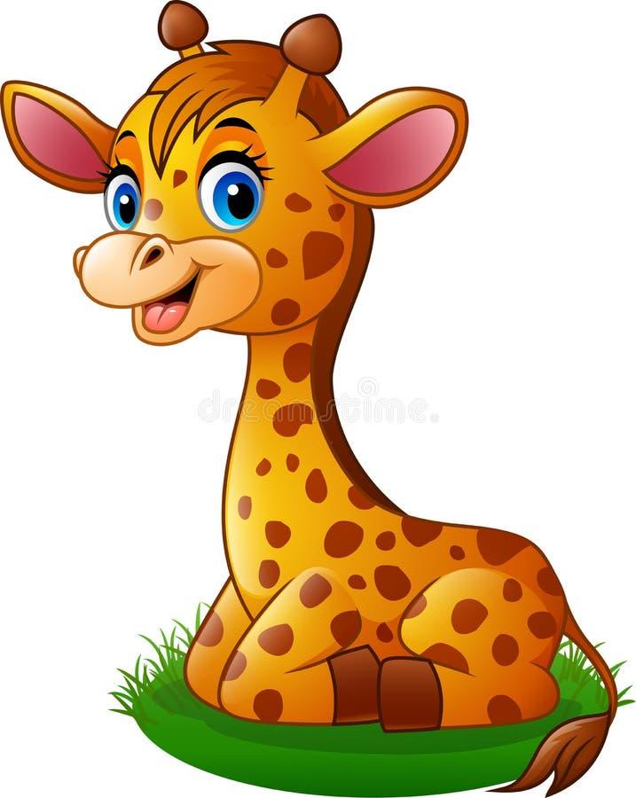 cartoon baby giraffe sitting on the grass stock vector rh dreamstime com cute cartoon baby giraffe pictures cartoon baby giraffe head