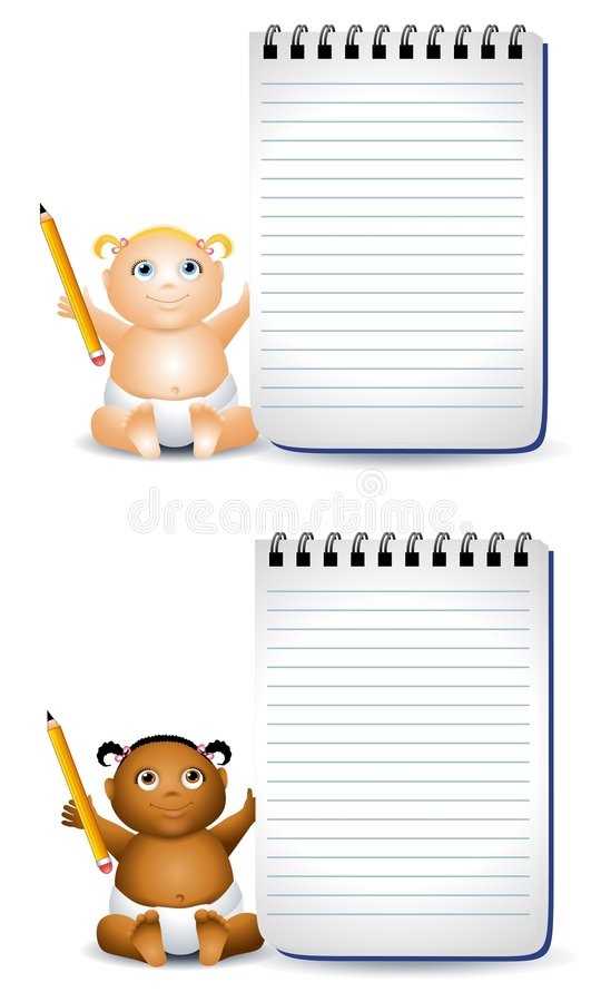 Cartoon Baby Notepads. An illustration featuring your choice of happy smiling baby - african american and caucasian baby girl holding pencil and notepad vector illustration