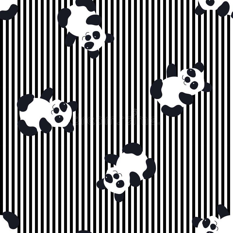 Cartoon Baby panda animal flat seamless pattern stock illustration