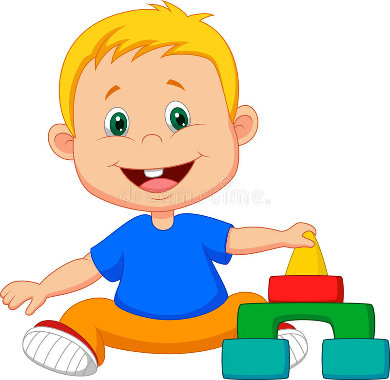 Cartoon Baby is playing with educational toys. Illustration of Cartoon Baby is playing with educational toys vector illustration