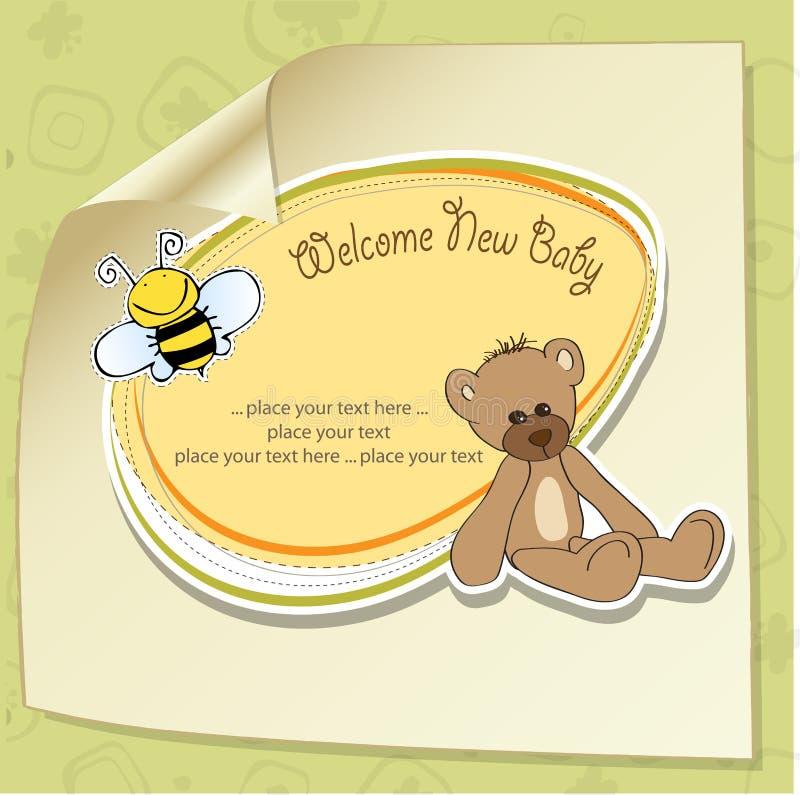 Cartoon baby shower card. With teddy bear stock illustration