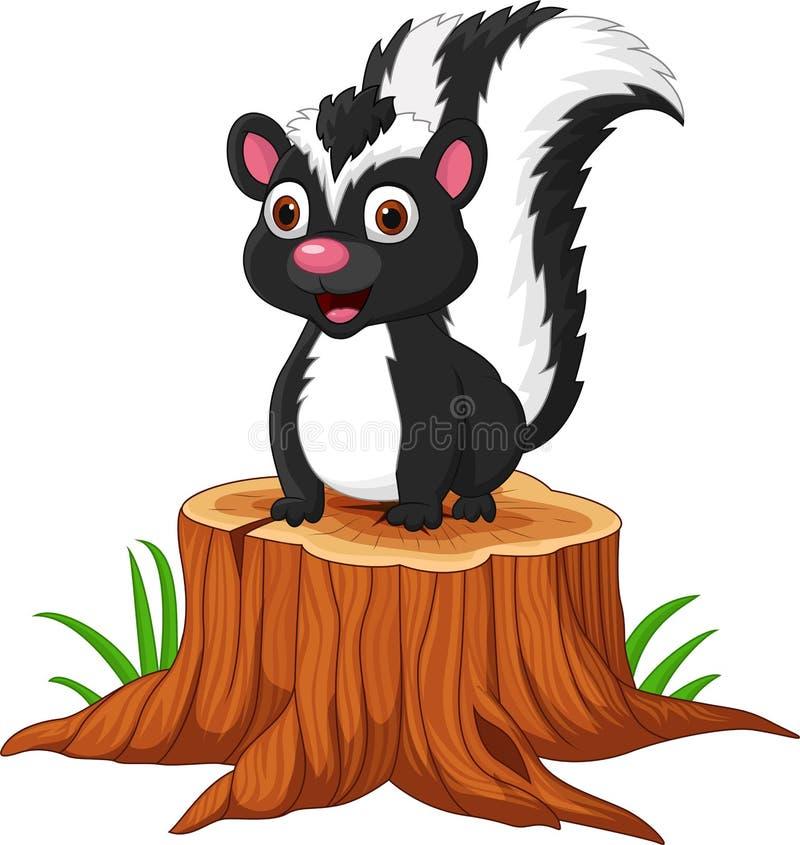 Free Cartoon Baby Skunk Sitting On Tree Stump Stock Photo - 164621890