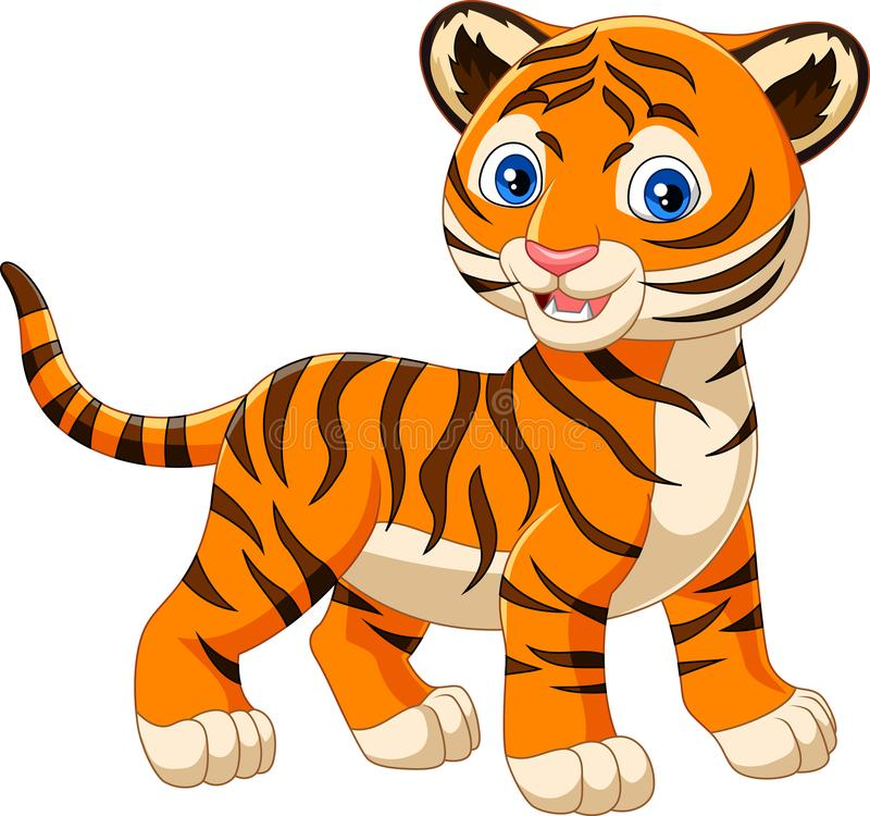 Cartoon baby tiger isolated on white background. Illustration of Cartoon baby tiger isolated on white background royalty free illustration