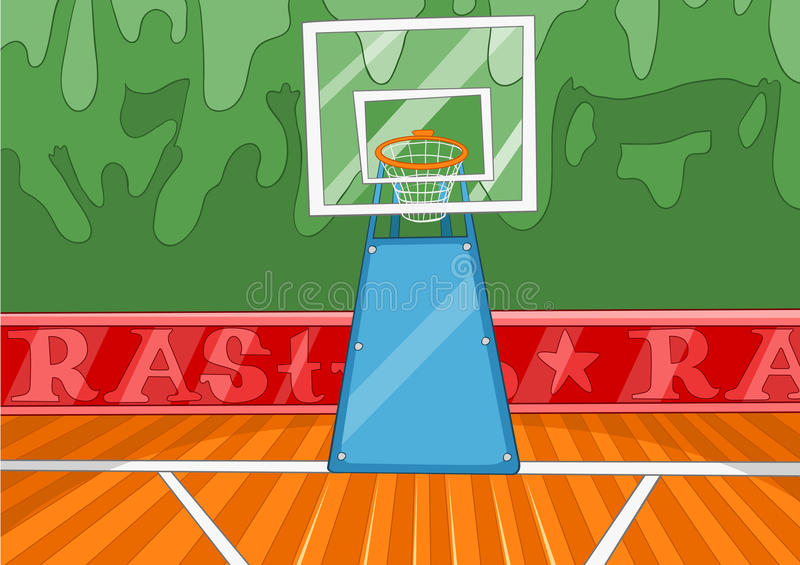 cartoon background of basketball court stock illustration rh dreamstime com Outdoor Basketball Court Cartoon Basketball Hoop