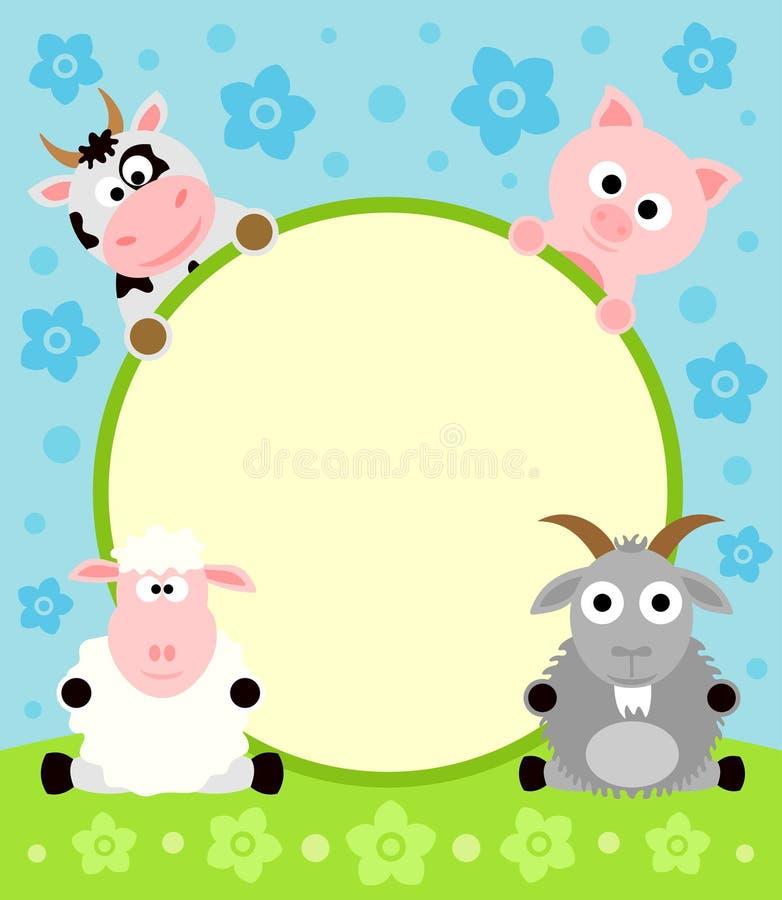Cartoon background with animal vector illustration