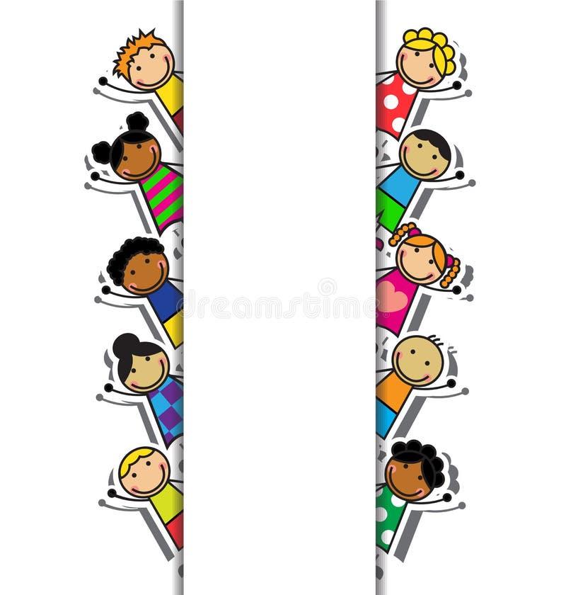 Cartoon background with children vector illustration