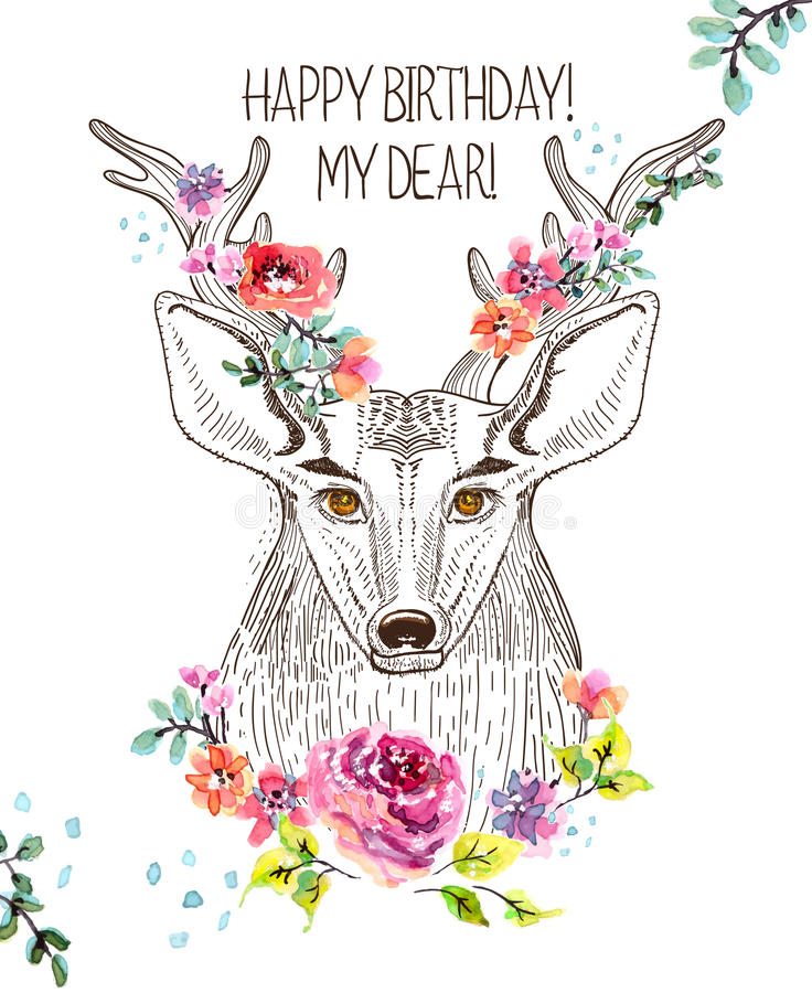 Cartoon background with deer and watercolor flowers vector illustration